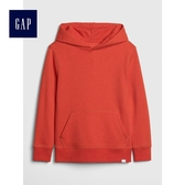 Gap男童 柔軟袋鼠口袋長袖連帽休閒上衣 496751-橘紅色