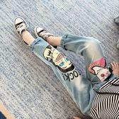 女童丹寧褲春裝新款韓版童裝兒童寬鬆褲子春秋破洞春季長褲潮【卡米優品】
