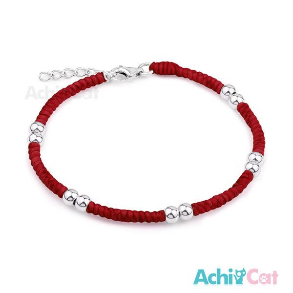 蠶絲蠟繩手鍊 AchiCat 925純銀飾 五路財神 I紅色 紅繩
