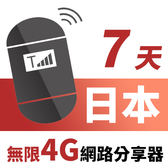 【TPHONE上網專家】日本網路無限高速4G分享器 7天 一天只要$135
