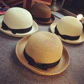 遮陽帽 韓版小禮帽子潮女英倫草帽 蝴蝶結平頂遮太陽沙灘帽子