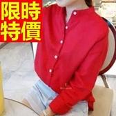 長袖襯衫-長版知性聚餐約會原創創意女裝上衣1色59n25【巴黎精品】