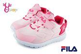 FILA 運動鞋 女童 中小童 透氣 輕量 慢跑鞋 O7633#粉紅◆OSOME奧森童鞋