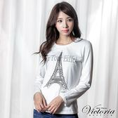 Victoria 鐵塔貼鑽基本長袖T-女-白色