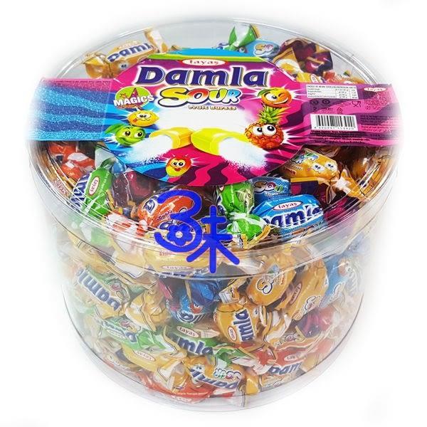 (土耳其) Tayas Damla sour fruit bursts 黛瑪拉什錦酸味軟糖 1桶 1000 公克 整人糖 萬聖節糖果