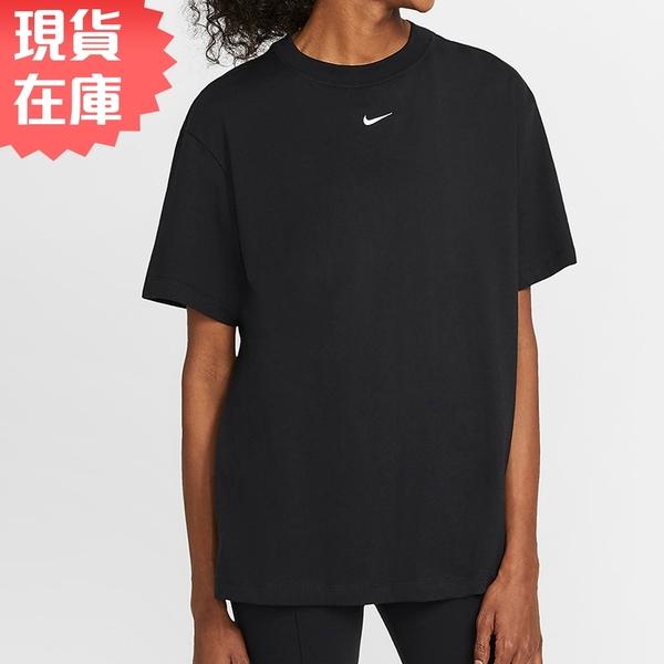 【現貨】NIKE SPORTSWEAR 女裝 短袖 純棉 寬版 休閒 刺繡小勾 黑【運動世界】DH4256-010