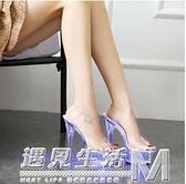 夜店走秀宴會女鞋 性感透明防水台鋼管舞水晶鞋 15CM超細高跟涼鞋