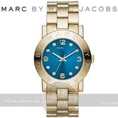 【南紡購物中心】MARC BY MARC JACOBS國際精品色彩潮流時尚腕錶-藍x金/36mm MBM3303
