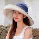 漁夫帽子女遮臉遮陽大檐帽韓版百搭防紫外線防曬雙面戴日系太陽帽一米陽光
