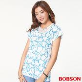 BOBSON 女款印布花小連袖上衣 (27076-01)