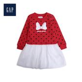 Gap女幼童Disney迪士尼系列米妮印花拼接洋裝528214-正紅色