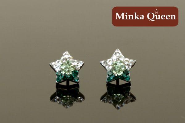 德國鈦鋼 深綠色漸層閃亮滿鑽星造型精緻水鑽抗敏耳環(一對)(9 mm)