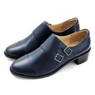 karine(MIT台灣製)全真皮雙釦帶低跟孟克鞋-藏藍色