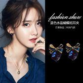 氣質蝴蝶結耳扣方形水晶耳夾無耳洞女韓國簡約清新耳環ins耳飾品 禮物