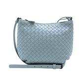 【台中米蘭站】全新品 BOTTEGA VENETA 經典編織羊皮拉鍊斜背包(522878-冰藍)