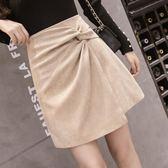 2018秋冬季新款韓版不規則純色半身裙女時尚顯瘦A字裙修身短裙女