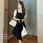 洋裝 方領拼接不規則下擺連身裙-媚儷香檳-【D1918】