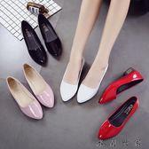 尖頭低跟鞋淺口瓢鞋黑色漆皮單鞋女鞋