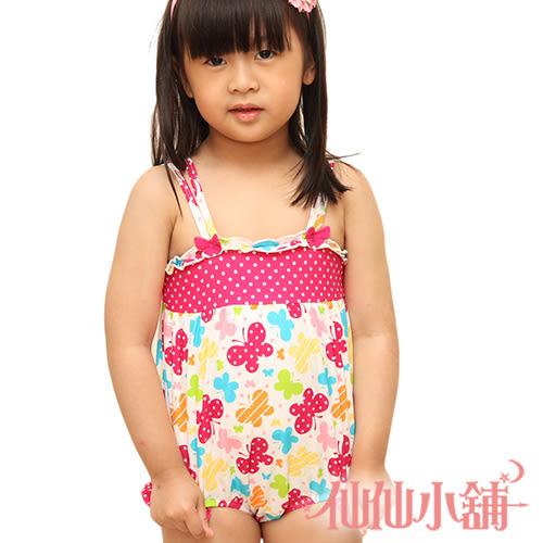 仙仙小舖 QF8848桃紅 小朋友/小童/幼童 卡哇伊連身式泳衣泳裝 溫泉SPA泡湯