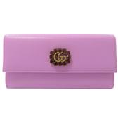 茱麗葉精品【全新現貨】GUCCI 499779 紅寶石雙G LOGO牛皮扣式長夾.粉紫