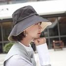 韓版雙面漁夫帽女遮臉大檐帽出游遮陽防曬太陽帽百搭休閒日系盆帽 米希美衣