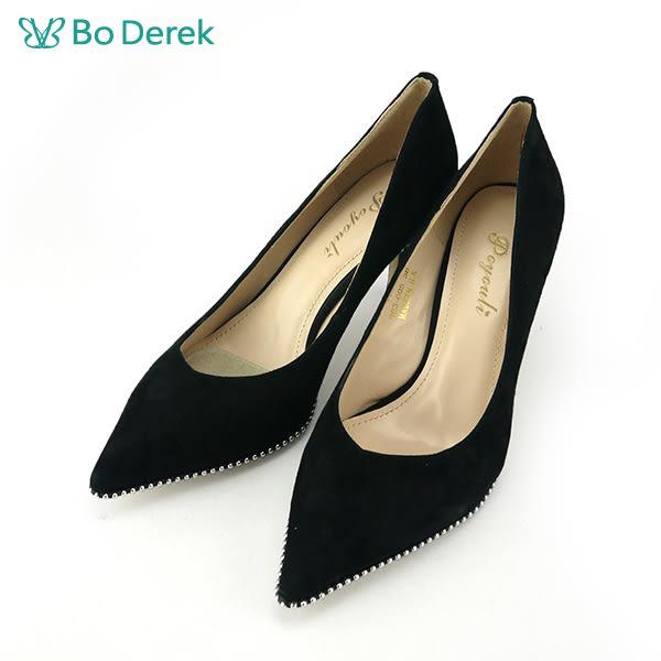 【Bo Derek 】金屬珠飾尖頭高跟鞋-黑色