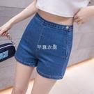 彈力高腰牛仔短褲女年春夏新款緊身超短褲顯...