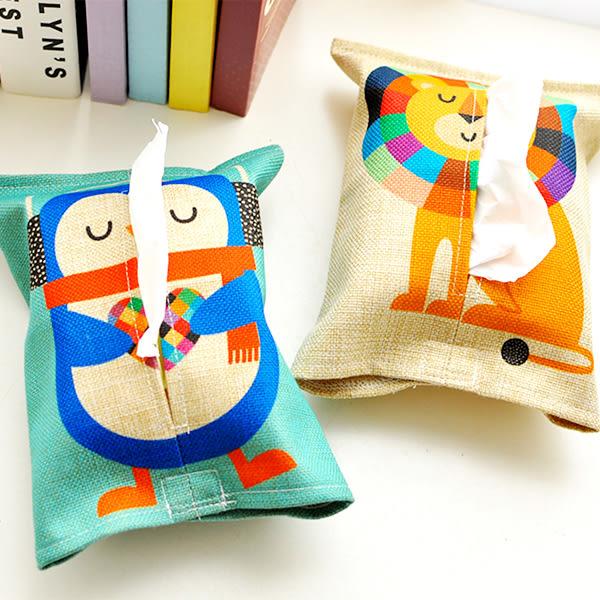 【BlueCat】動物派對帆布棉麻紙巾套/面紙套/面紙盒