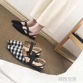 女鞋格子平底鞋尖頭涼鞋女粗跟單鞋低跟鞋女