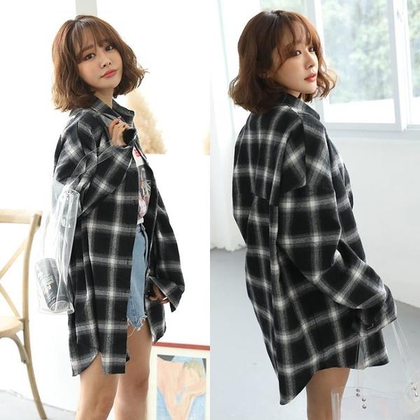 韓版春秋格子襯衣寬鬆大碼中長款長袖格子襯衫外套襯衣女