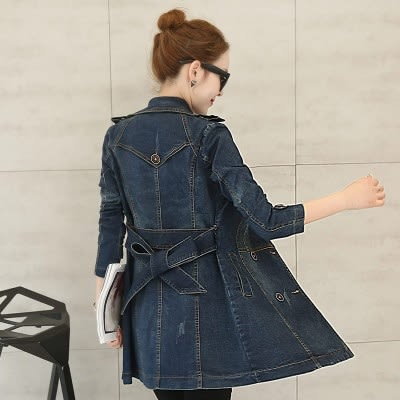 牛仔風衣-歐美風格綁帶設計長版女單寧外套73iu106[時尚巴黎]