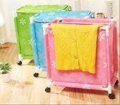牛津布髒衣簍大號防水洗衣籃髒衣籃有蓋帶輪髒衣服收納筐籃  YDL