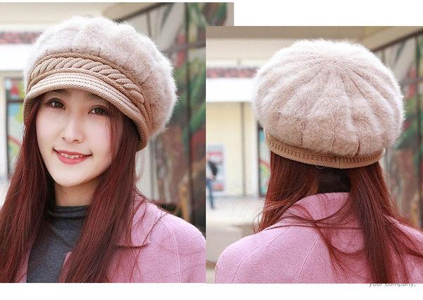 韓版兔毛短簷八角帽加絨畫家帽禮帽女士帽子秋冬天時尚包郵女帽子