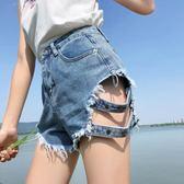 春季2019新款女裝牛仔短褲寬鬆磨破洞高腰熱褲闊腿顯瘦毛邊褲子潮 美芭