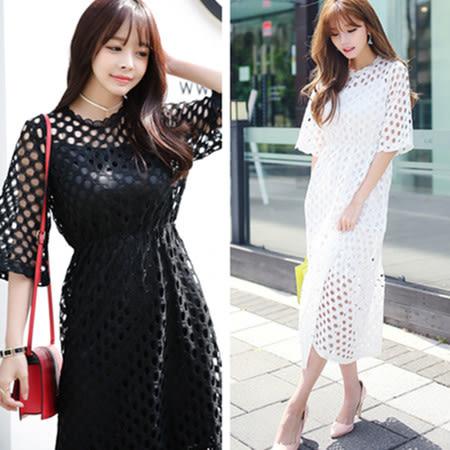 韓風鏤空蕾絲連身裙/洋裝 兩件套-2色 S-XL碼【D927254】