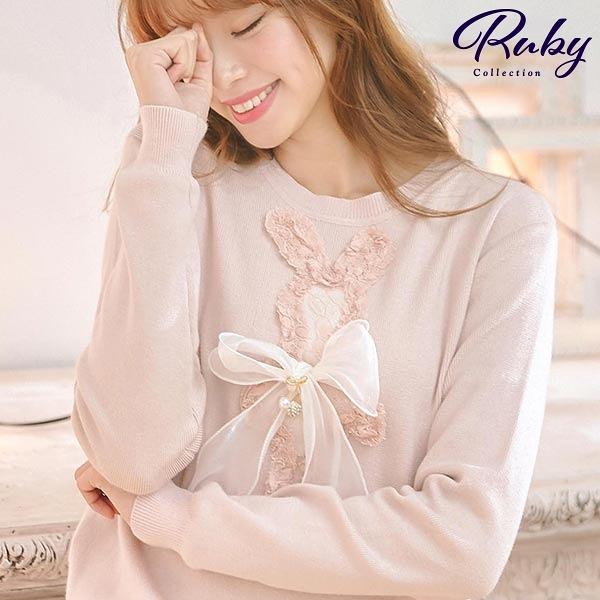上衣 蕾絲兔子蝴蝶結針織長袖上衣-Ruby s 露比午茶