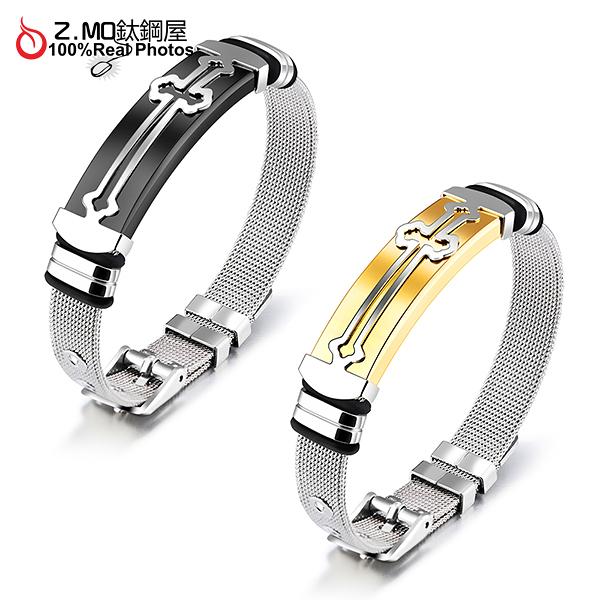 十字架手環 Z.MO鈦鋼屋 錶帶設計 宗教信仰 中性款式 送男友禮物 白鋼手環【CKS876】 單條價