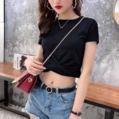 短T 高腰短款爵士舞衣服2020年新款黑色短袖t恤女緊身露腰漏臍裝體恤