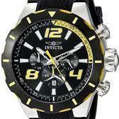 【INVICTA】S1極限競速賽車款 三眼計時腕錶 -黑黃矽膠錶帶