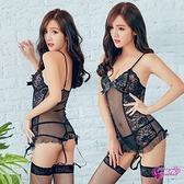 性感馬甲 黑薄紗透視刺繡蕾絲四件式長馬甲吊襪帶睡衣 NA10030117