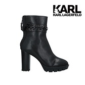 Karl Lagerfeld 卡爾 老佛爺 VOYAGE輪胎底短靴-黑