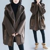 皮毛一體大衣女中長款2019新款冬裝洋氣大碼寬鬆連帽羊羔毛外套潮