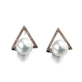 耳環 925純銀珍珠-經典三角生日情人節禮物女耳針2色73gt125【時尚巴黎】