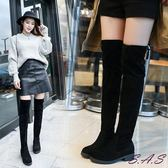 過膝靴 膝上靴 顯瘦過膝靴 長靴 絨布過膝靴 過膝平底靴 女平底長靴