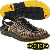 KEEN 1014624黑/淺咖啡/迷彩 Uneek 男專業戶外護趾編織涼鞋/水陸兩用繩編鞋