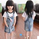【R0082】shiny藍格子-嬰幼館.春裝新款女童吊帶牛仔裙(附小免子)