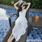 度假海灘長裙女夏裝性感雪紡掛脖露背顯瘦性感深V吊帶海邊沙灘裙      橙子精品