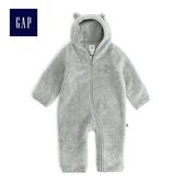Gap男女嬰兒 仿羊羔絨熊耳造型連體褲 479492-淺麻灰