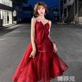 媽媽禮服 紅色敬酒服新娘春季性感長款結婚宴會晚禮服裙女氣質顯瘦吊帶 韓菲兒