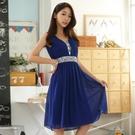 V領亮片皺褶雪紡無袖小禮服洋裝~9651...